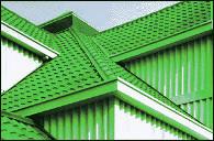 Cserép-minta utánzatú műanyag  tetőcserép, bonyolult kialakítású tetőre is kiváló