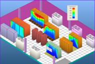 Passzív hűtésű szerverek hőtérképe a datacenterben